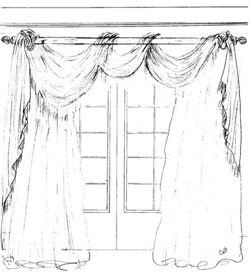 Custom window treatment design by a design exclusive interiors for Window design sketch