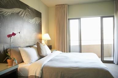 Cool grey bedroom,