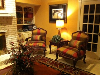 French Country grouping with custom Bergere chairs.