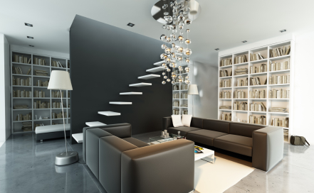 Contemporary Living Room & Library