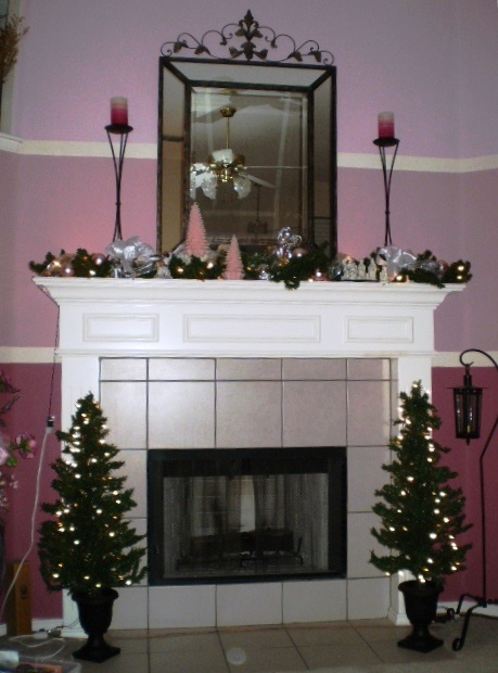 Holiday mantle in pink.
