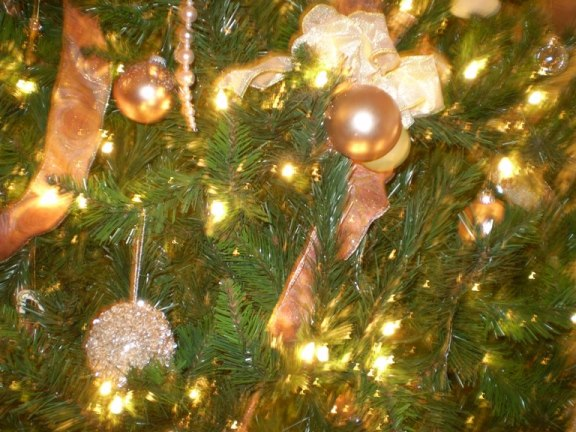 Tree close up in pink & gold.