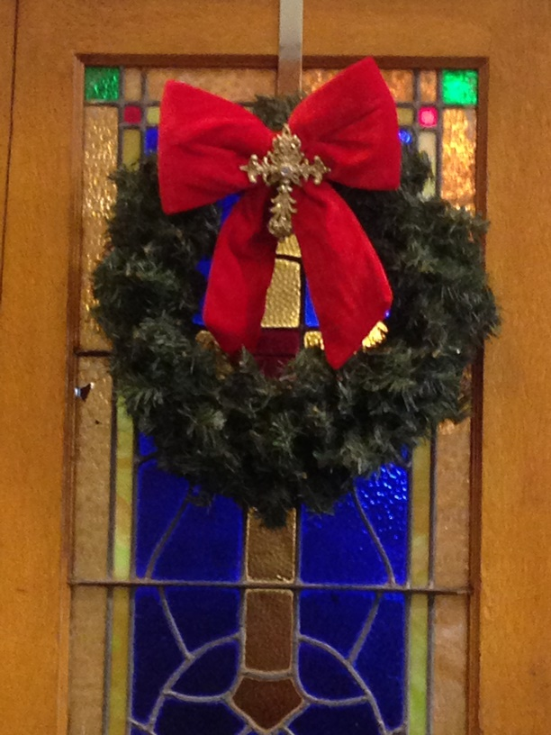 Adorned wreath on entry doors